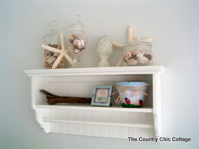 Beach Seashells Bathroom Decor Shelf Vignette (2)